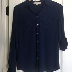 Women's navy blue silk LOFT shirt